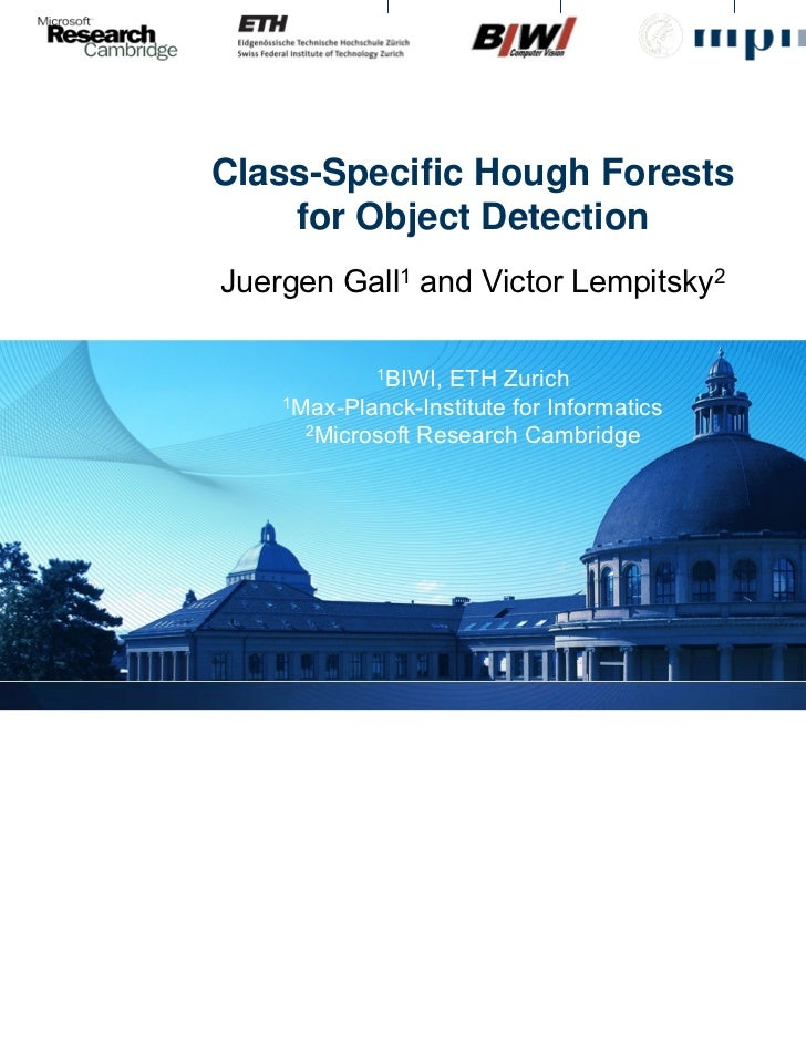 cvpr2009  class specific hough forest for object detection
