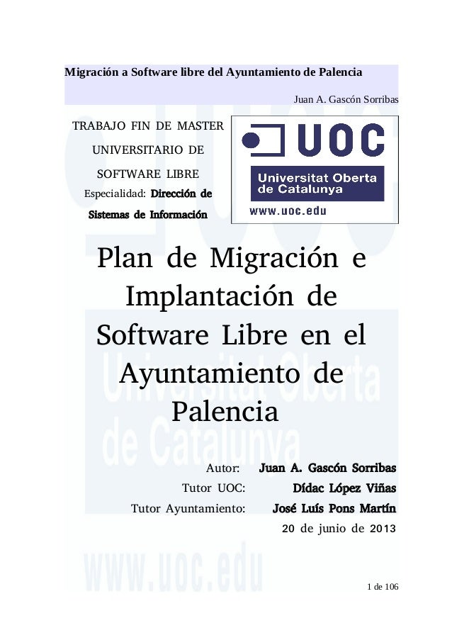 Plan de migraci n e implantaci n de software libre en el for Plan de conception de plan libre