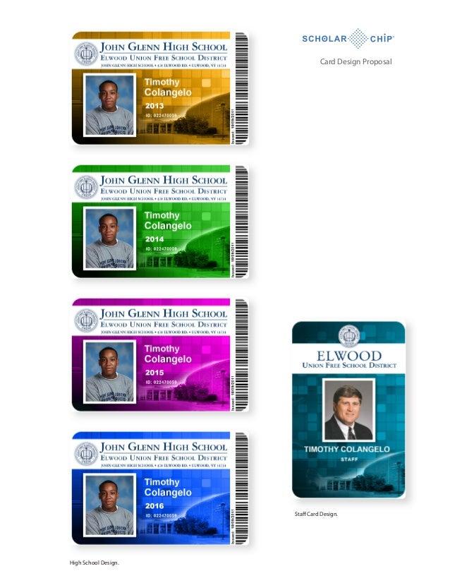 Card Design Proposal  Staff Card Design.  High School Design.