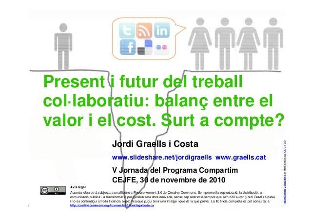 1 Jordi Graells i Costa www.slideshare.net/jordigraells www.graells.cat V Jornada del Programa Compartim CEJFE, 30 de nove...
