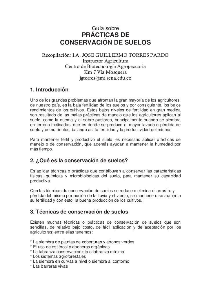 Guía sobre                     PRÁCTICAS DE                CONSERVACIÓN DE SUELOS      Recopilaciòn: I.A. JOSE GUILLERMO T...