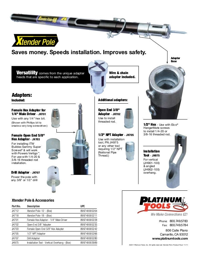 For Ceiling up to 18/' 3 Sections Platinum Tools Xtender Pole 12 P//N JH712
