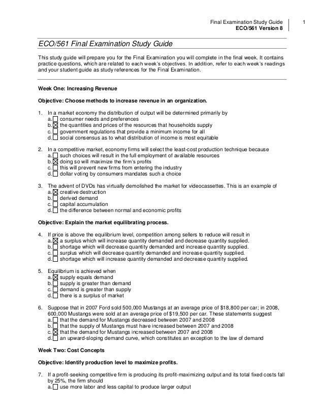 eco365 final exam study guide Eco 265 final studyguide eco/365 final examination study guide this study guide prepares you for the final examination you complete in the last week of the course.