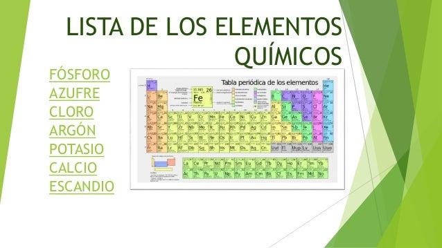 Jhasmin carolina gallegos correa lista de los elementos qumicos fsforo azufre cloro argn potasio calcio escandio urtaz Choice Image