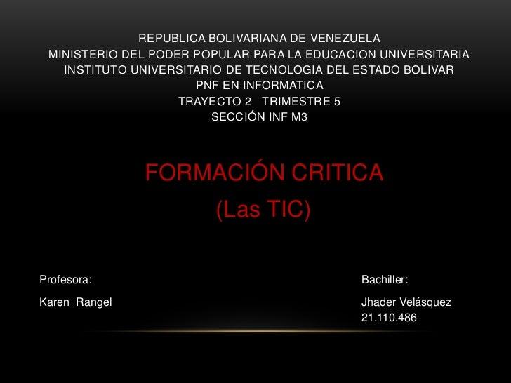 REPUBLICA BOLIVARIANA DE VENEZUELA MINISTERIO DEL PODER POPULAR PARA LA EDUCACION UNIVERSITARIA   INSTITUTO UNIVERSITARIO ...