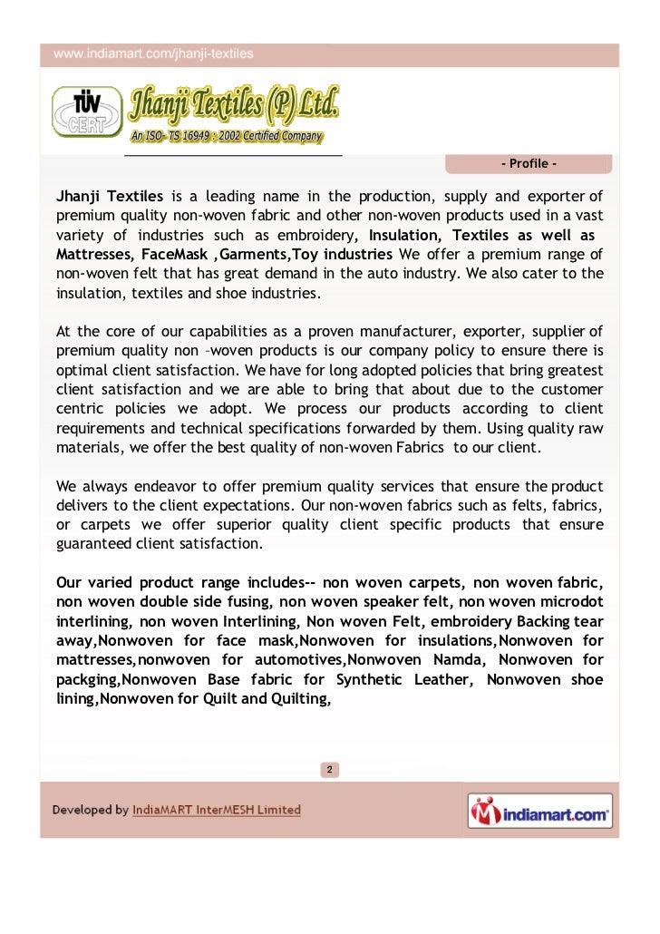 Jhanji Textiles (P) Ltd., Delhi, Non Woven Textile Products Slide 2