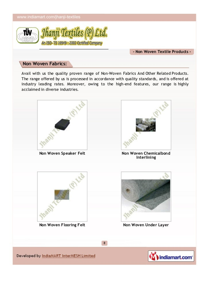 Jhanji Textiles (P) Ltd., Delhi, Non Woven Textile Products Slide 3
