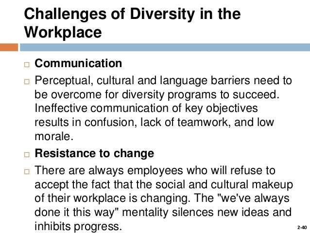 the difficulties in the workforce caused by the language barrier A more obvious challenge within an organizationally diverse workplace is the language barrier among employees, including accents and fluency although english is the standard language internationally for business, many non-english speakers can feel unnoticed and unappreciated in the workplace.
