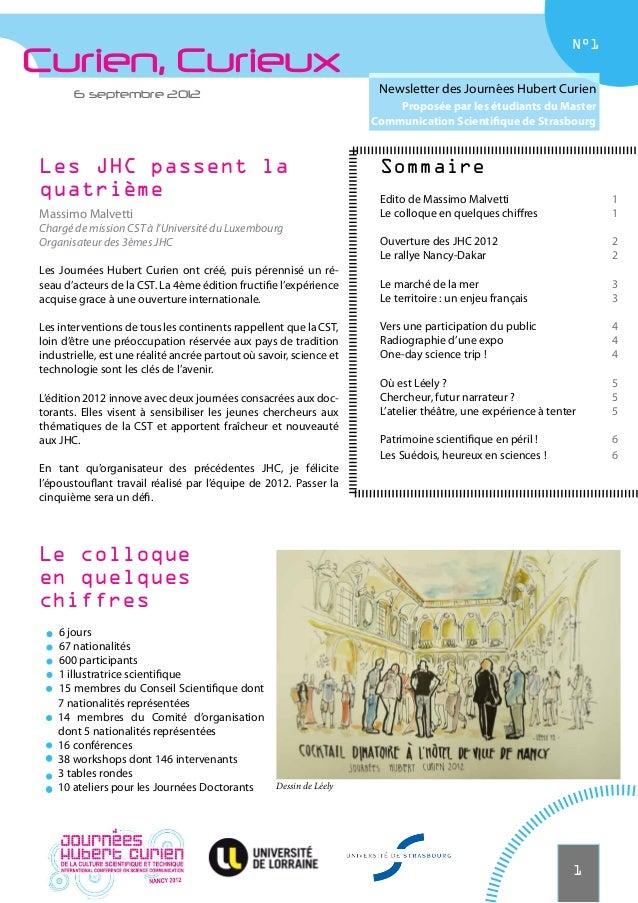 N°1Curien, Curieux       6 septembre 2012                                                Newsletter des Journées Hubert Cu...