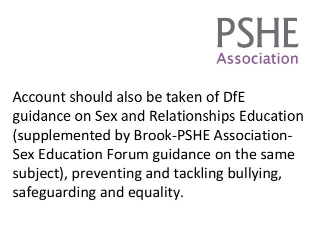 sex and relationship education guidance dfe