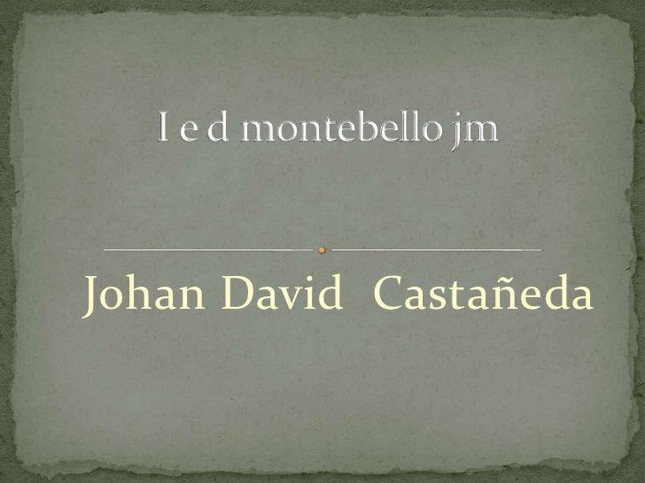 Johan David  Castañeda <br />I e d montebello jm<br />