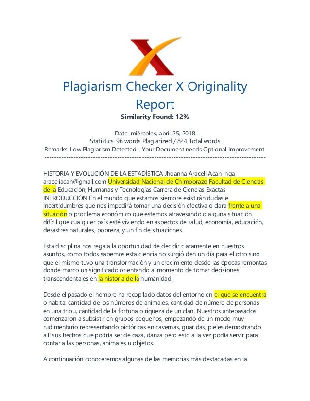 Plagiarism Checker X Originality Report Similarity Found: 12% Date: mi�rcoles, abril 25, 2018 Statistics: 96 words Plagiar...