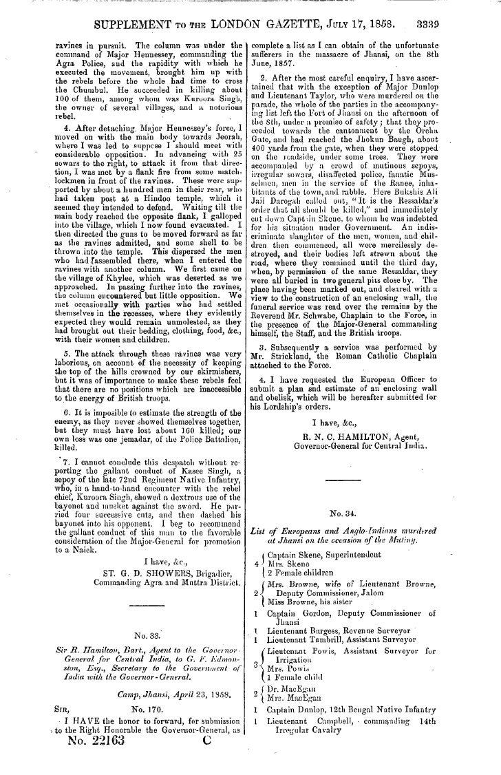 SUPPLEMENT TO THE LONDON GAZETTE, JULY 17, 1858.                                           3339  ravines in pursuit. The c...