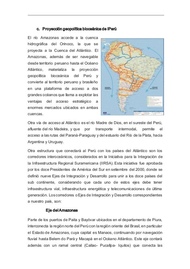 regiones del centro del Perú con el resto del Eje. Este eje posibilitará la generación de centros de apoyo logístico y de ...