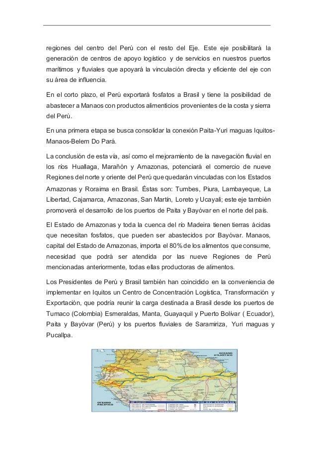 Eje Perú-Brasil-Bolivia Este Eje vincula a las regiones del sur del Perú con los Estados de Acre y Rondonia de Brasil. Ini...