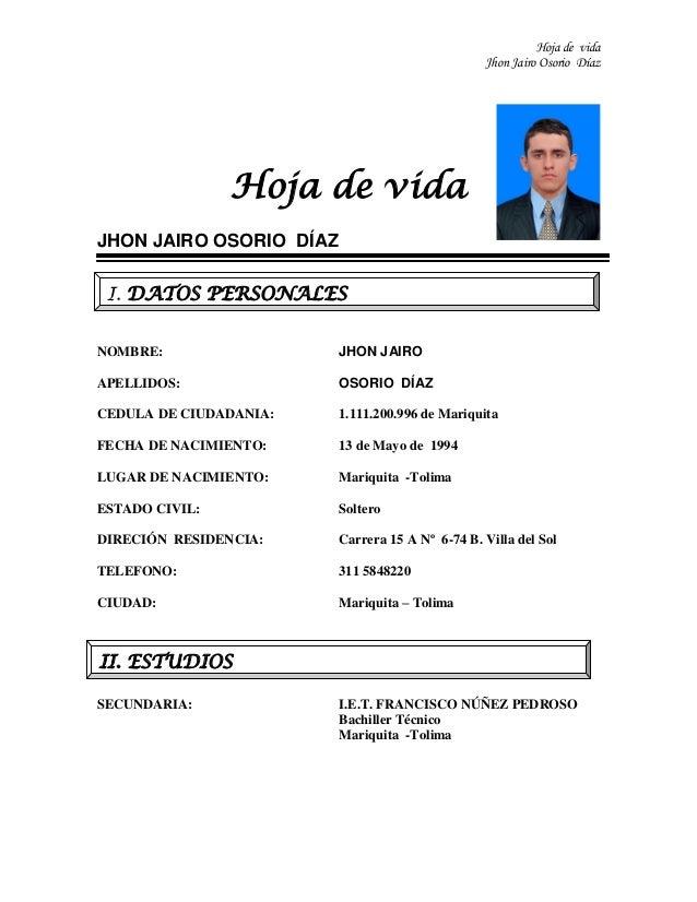 Jhon jairo osorio diaz. hoja de vida pdf