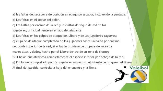 a) las faltas del sacador y de posición en el equipo sacador, incluyendo la pantalla; b) Las faltas en el toque del balón....
