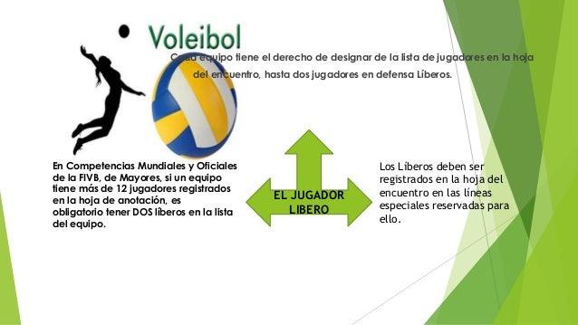 EL JUGADOR LIBERO En Competencias Mundiales y Oficiales de la FIVB, de Mayores, si un equipo tiene más de 12 jugadores reg...