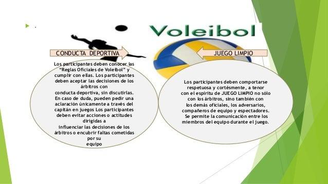 """ . Los participantes deben conocer las """"Reglas Oficiales de Voleibol"""" y cumplir con ellas. Los participantes deben acepta..."""