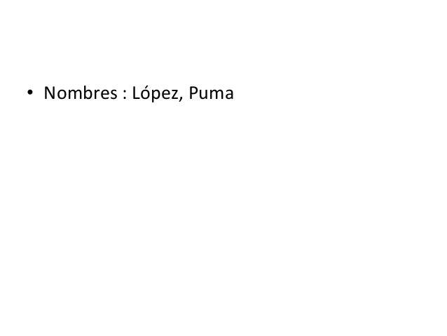 • Nombres : López, Puma