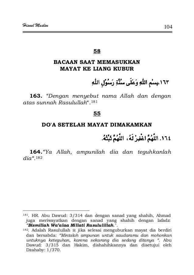 "Hisnul Muslim 104 58 BACAAN SAAT MEMASUKKAN MAYAT KE LIANG KUBUR KKKK 163. ""Dengan menyebut nama Allah dan dengan atas sun..."