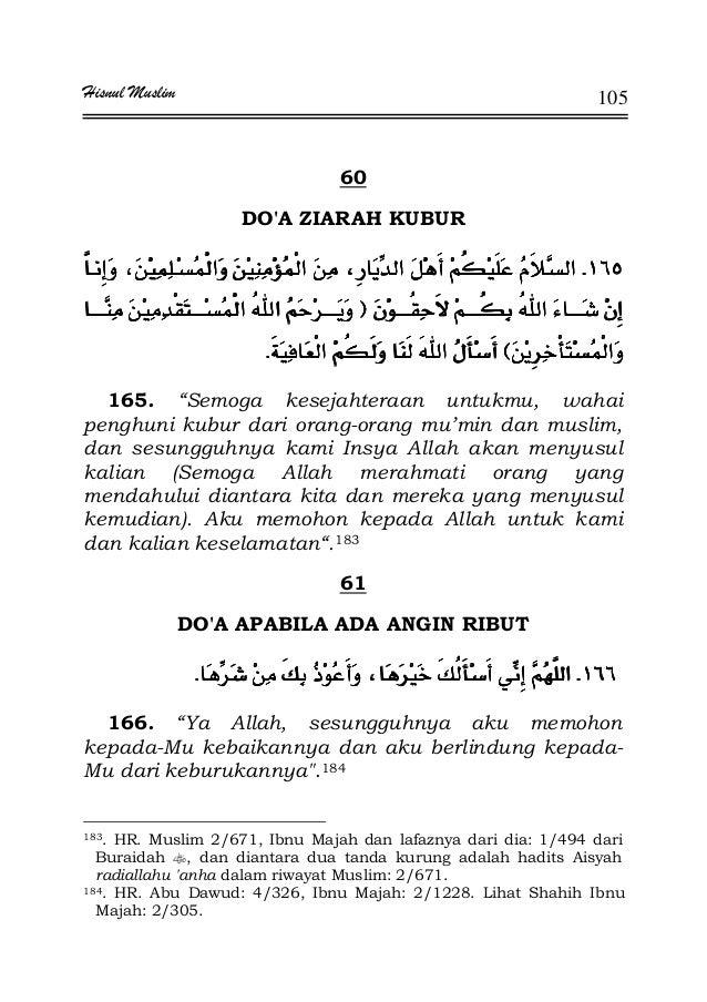 """Hisnul Muslim 105 60 DO'A ZIARAH KUBUR KKKK FFFF EEEEKKKK 165. """"Semoga kesejahteraan untukmu, wahai penghuni kubur dari or..."""