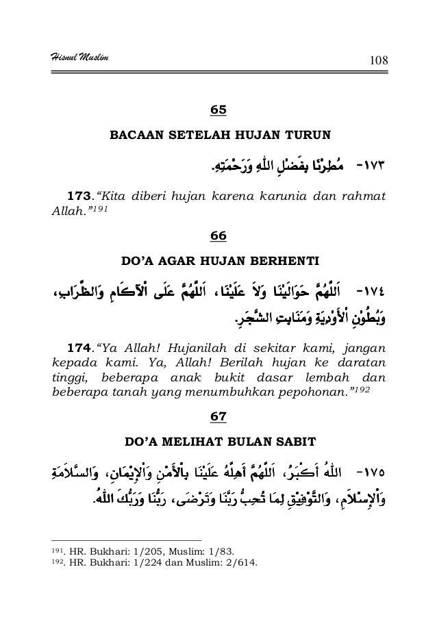 """Hisnul Muslim 108 65 BACAAN SETELAH HUJAN TURUN JJJJKKKK 173.""""Kita diberi hujan karena karunia dan rahmat Allah.""""191 66 DO..."""