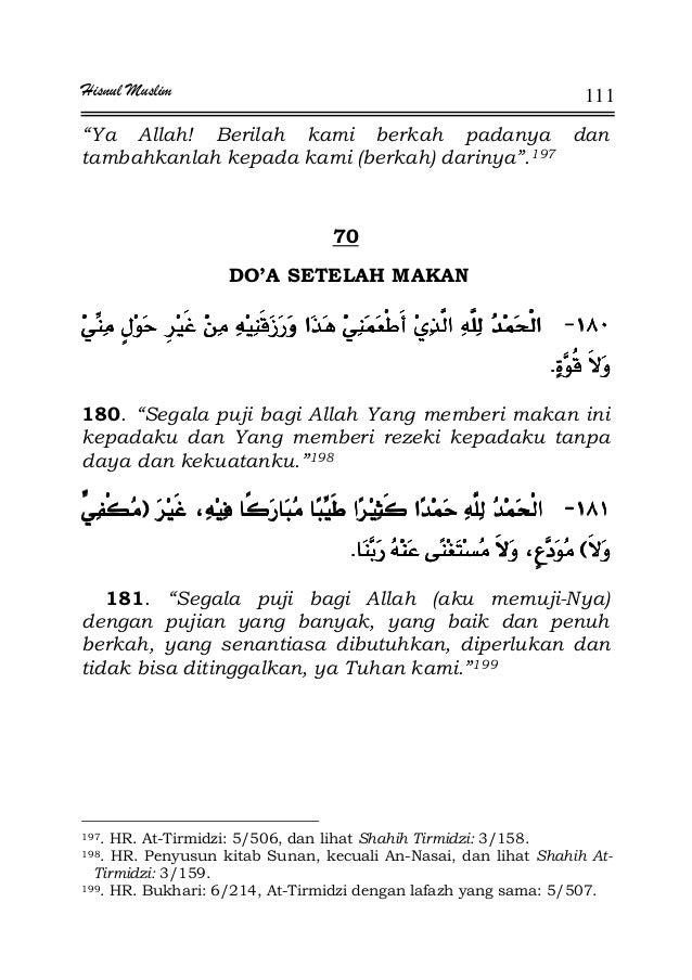 """Hisnul Muslim 111 """"Ya Allah! Berilah kami berkah padanya dan tambahkanlah kepada kami (berkah) darinya"""".197 70 DO'A SETELA..."""