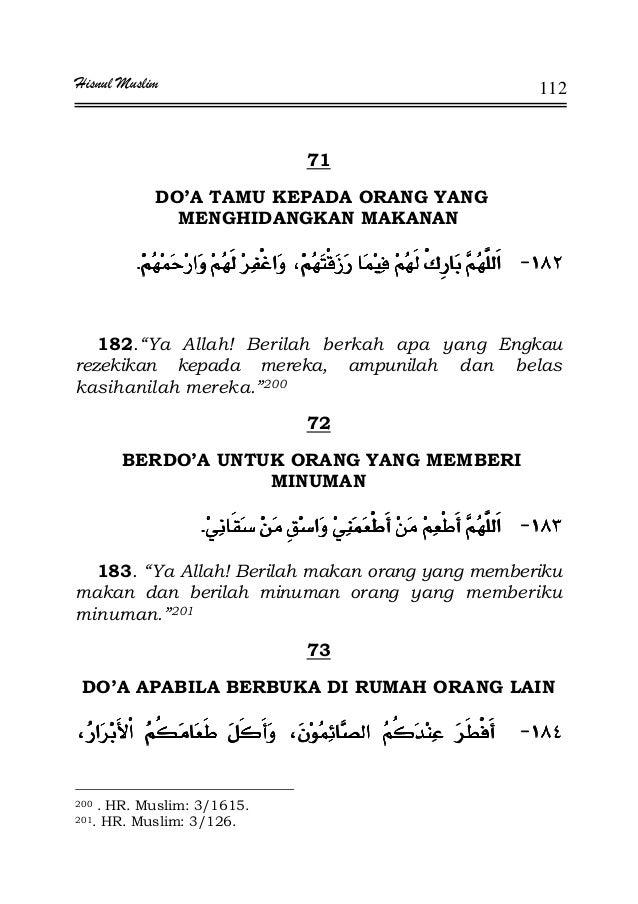 """Hisnul Muslim 112 71 DO'A TAMU KEPADA ORANG YANG MENGHIDANGKAN MAKANAN JJJJ¯¯¯¯KKKK 182.""""Ya Allah! Berilah berkah apa yang..."""
