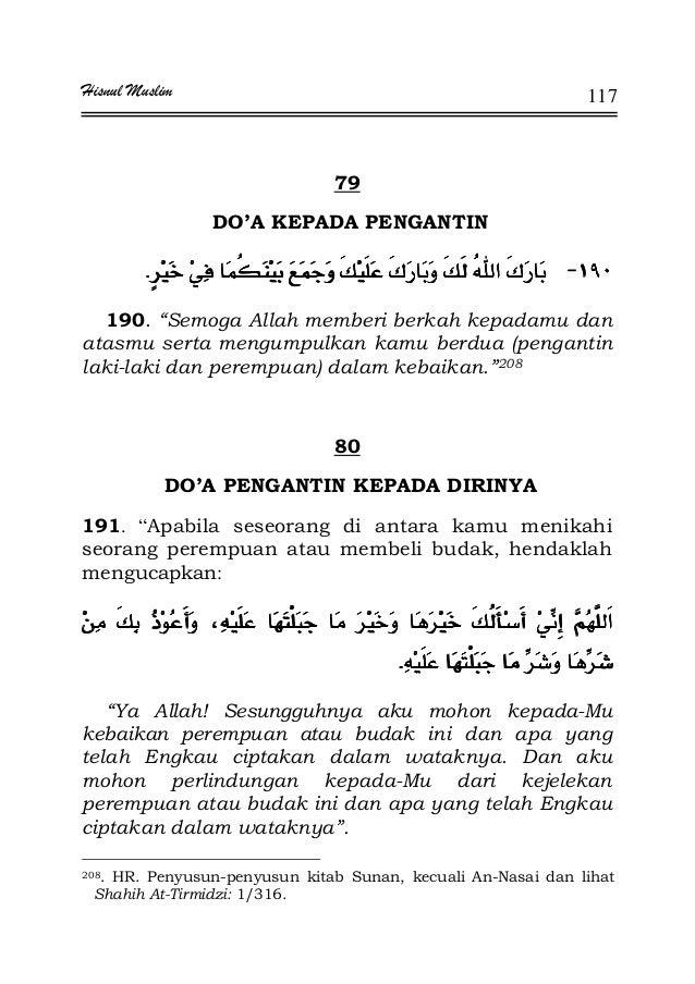 """Hisnul Muslim 117 79 DO'A KEPADA PENGANTIN JJJJ¯ ¯¯ ¯¯ ¯¯ ¯KKKK 190. """"Semoga Allah memberi berkah kepadamu dan atasmu sert..."""