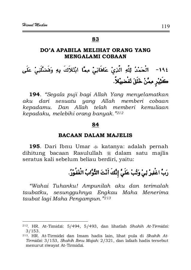 """Hisnul Muslim 119 83 DO'A APABILA MELIHAT ORANG YANG MENGALAMI COBAAN JJJJ¯¯¯¯ KKKK 194. """"Segala puji bagi Allah Yang meny..."""