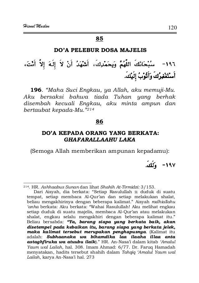 "Hisnul Muslim 120 85 DO'A PELEBUR DOSA MAJELIS JJJJ¯¯¯¯ ª ¯ª ¯ª ¯ª ¯KKKK 196. ""Maha Suci Engkau, ya Allah, aku memuji-Mu. ..."