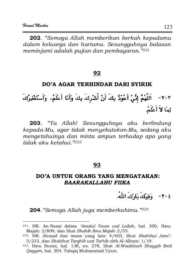 """Hisnul Muslim 123 202. """"Semoga Allah memberikan berkah kepadamu dalam keluarga dan hartamu. Sesungguhnya balasan meminjami..."""