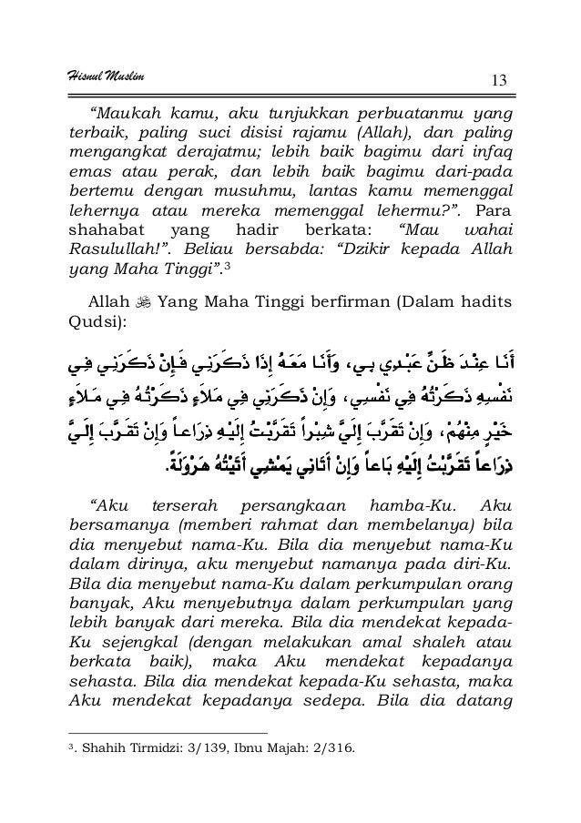 """Hisnul Muslim 13 """"Maukah kamu, aku tunjukkan perbuatanmu yang terbaik, paling suci disisi rajamu (Allah), dan paling menga..."""