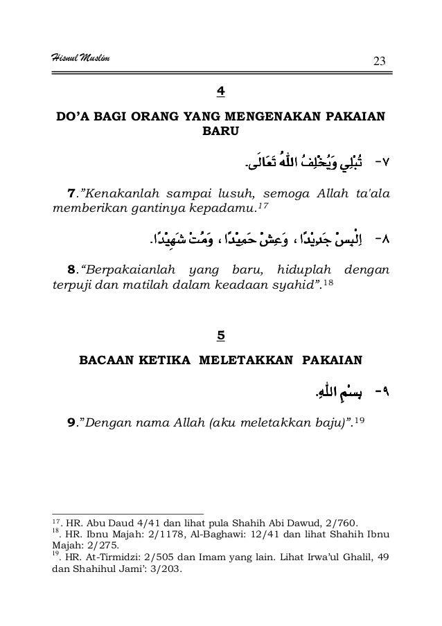 "Hisnul Muslim 23 4 DO'A BAGI ORANG YANG MENGENAKAN PAKAIAN BARU JJJJKKKK 7.""Kenakanlah sampai lusuh, semoga Allah ta'ala m..."