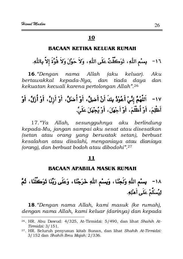"""Hisnul Muslim 26 10 BACAAN KETIKA KELUAR RUMAH JJJJKKKK 16.""""Dengan nama Allah (aku keluar). Aku bertawakkal kepada-Nya, da..."""