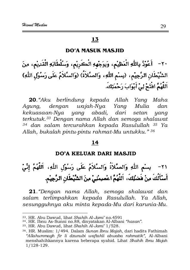 "Hisnul Muslim 29 13 DO'A MASUK MASJID JJJJ FFFFEEEEFFFFEEEE ªªªªKKKK 20.""Aku berlindung kepada Allah Yang Maha Agung, deng..."