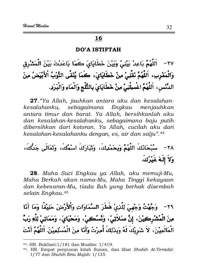 "Hisnul Muslim 32 16 DO'A ISTIFTAH JJJJ¯ ª¯ ª¯ ª¯ ª ªªªªªªªª KKKK 27.""Ya Allah, jauhkan antara aku dan kesalahan- kesalahan..."
