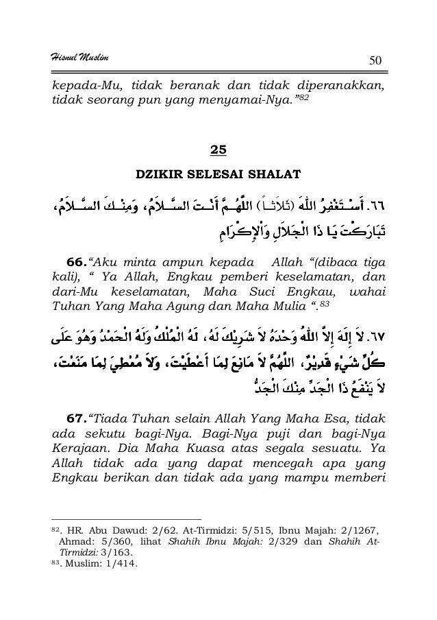 """Hisnul Muslim 50 kepada-Mu, tidak beranak dan tidak diperanakkan, tidak seorang pun yang menyamai-Nya.""""82 25 DZIKIR SELESA..."""