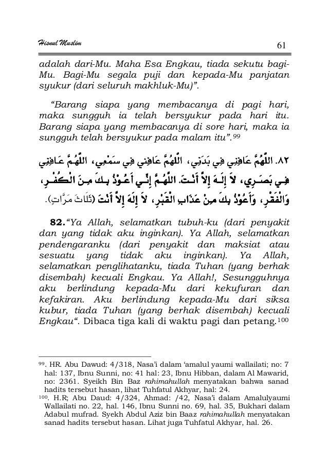 Hisnul Muslim 61 adalah dari-Mu. Maha Esa Engkau, tiada sekutu bagi- Mu. Bagi-Mu segala puji dan kepada-Mu panjatan syukur...