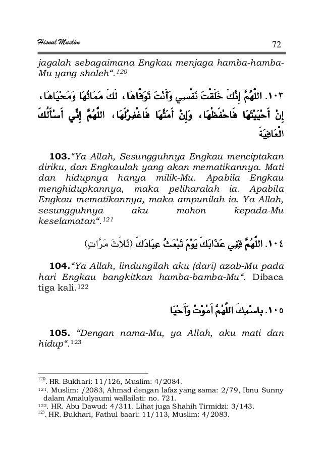 """Hisnul Muslim 72 jagalah sebagaimana Engkau menjaga hamba-hamba- Mu yang shaleh"""".120 KKKK 103.""""Ya Allah, Sesungguhnya Engk..."""