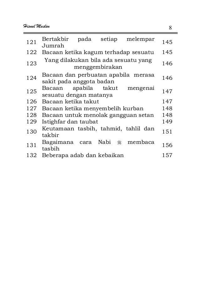 Hisnul Muslim 8 121 Bertakbir pada setiap melempar Jumrah 145 122 Bacaan ketika kagum terhadap sesuatu 145 123 Yang dilaku...