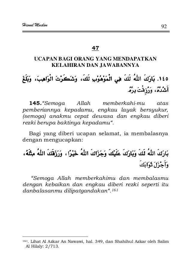 "Hisnul Muslim 92 47 UCAPAN BAGI ORANG YANG MENDAPATKAN KELAHIRAN DAN JAWABANNYA KKKKª ª ¯ª ª ¯ª ª ¯ª ª ¯ KKKK 145.""Semoga ..."
