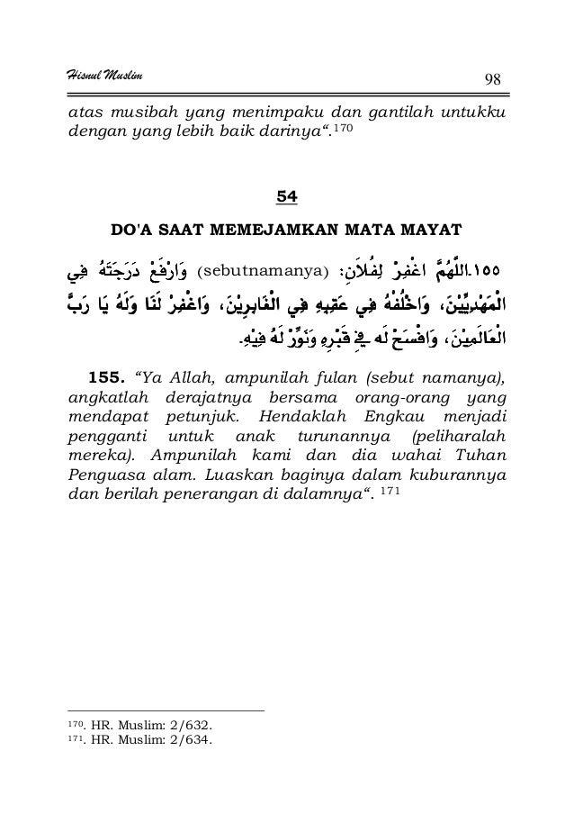 """Hisnul Muslim 98 atas musibah yang menimpaku dan gantilah untukku dengan yang lebih baik darinya"""".170 54 DO'A SAAT MEMEJAM..."""