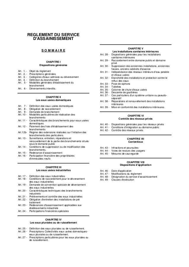 REGLEMENT DU SERVICE D'ASSAINISSEMENT S O M M A I R E CHAPITRE I Dispositions générales Art. 1. - Objet du règlement Art. ...
