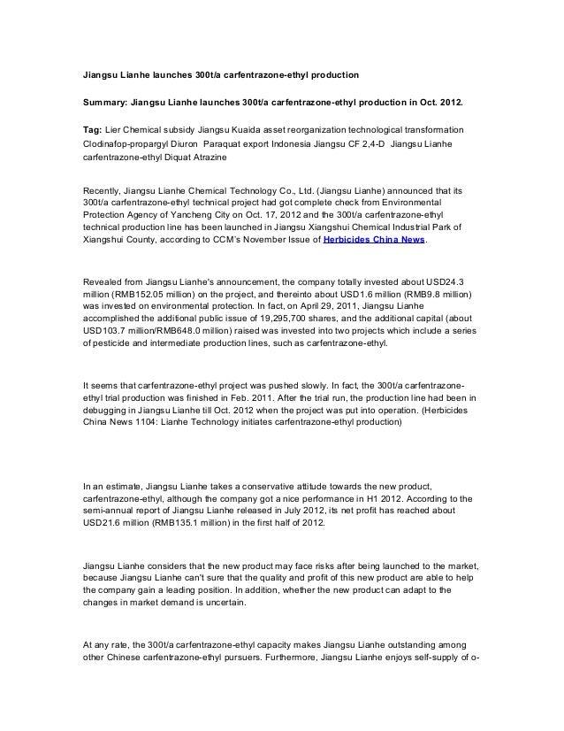 Jiangsu Lianhe launches 300t/a carfentrazone-ethyl productionSummary: Jiangsu Lianhe launches 300t/a carfentrazone-ethyl p...