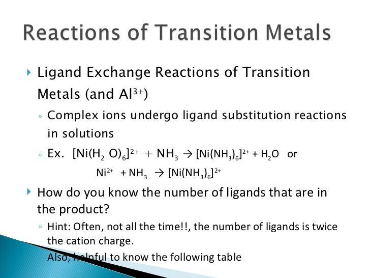 <ul><li>Ligand Exchange Reactions of Transition Metals (and Al 3+ ) </li></ul><ul><ul><li>Complex ions undergo ligand subs...