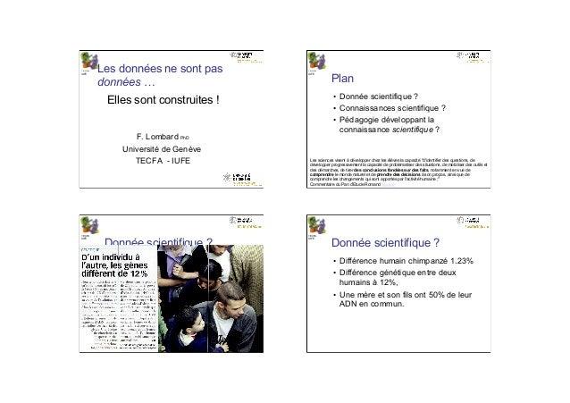 10.06.14 1 TECFA IUFE Les données ne sont pas données … Elles sont construites ! F. Lombard PhD Université de Genève TECFA...