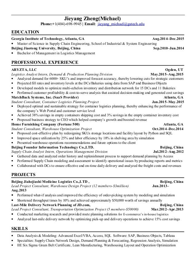 Awesome Supply Chain Engineering Resume Gallery - Administrative ...