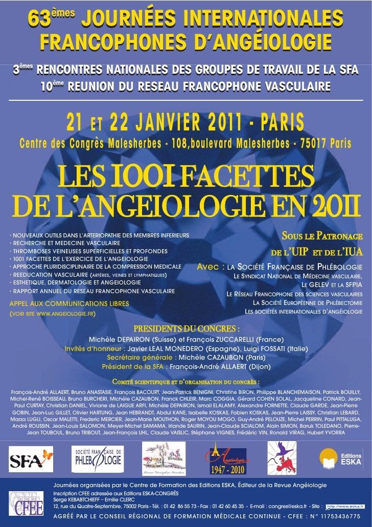 63 JOURNÉES INTERNATIONALES                 èmes         FRANCOPHONES D'ANGÉIOLOGIE  3èmes RENCONTRES NATIONALES DES GROUP...